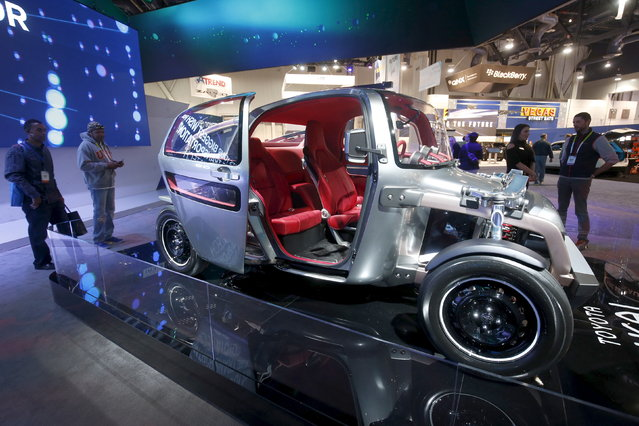 A three-seater Toyota Kikai concept car is displayed during the 2016 CES trade show in Las Vegas Sat