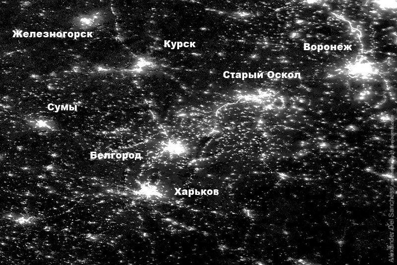 Сравнительная светимость Белгорода и Харькова в 1992 и 2016 году