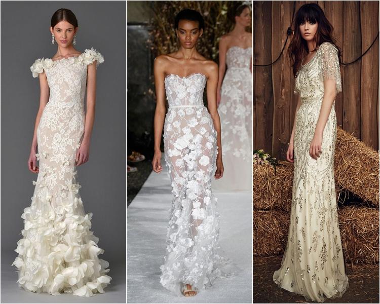 Свадебные платья с аппликациями мода весны 2017