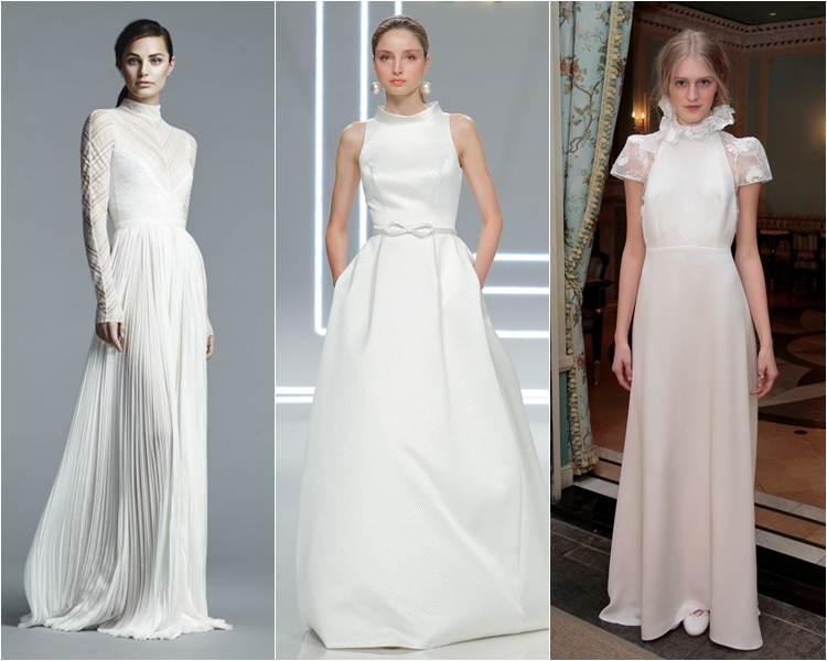 Модные свадебные платья весна-2017: высокий воротник стойка