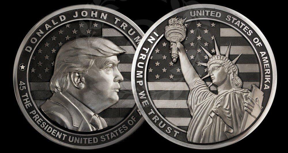 Златоустовская художественная мастерская Арт-грани выпустила монету, посвященную Дональду Трампу