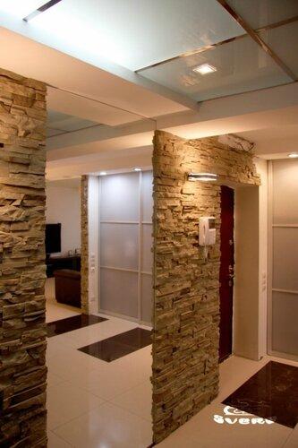 025. интерьер, коридор, камень, посветка