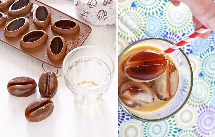 Формы для льда в виде кофейных бобов. В них можно замораживать в том числе и кофе.