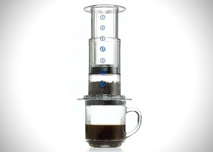 11. Ручная кофеварка AeroPress — инновационная ручная кофеварка-кофемолка, способная приготовить до