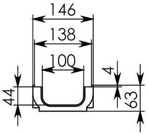 Чертежный вид лотка Gidrolica Standart ЛВ-10.14,5.06