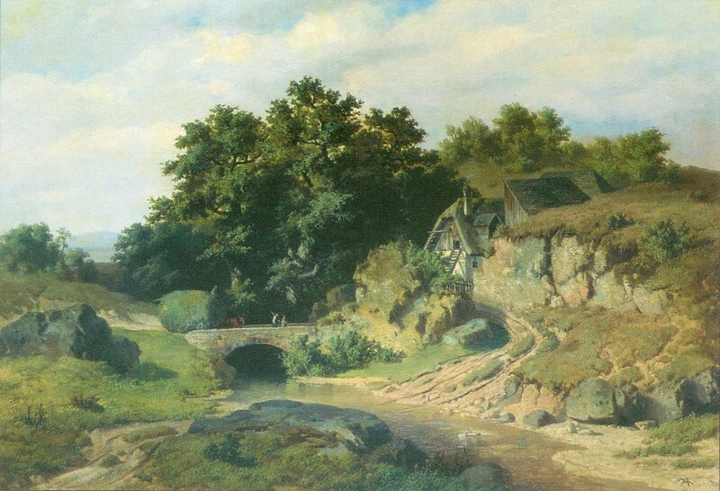 Адольф Косарек: «Пейзаж с мостом» (1855 г.)