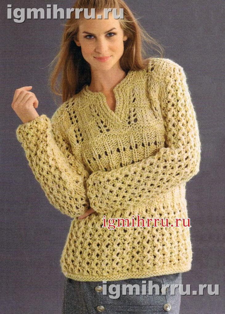 Желтый узорчатый пуловер из толстой пряжи. Вязание спицами