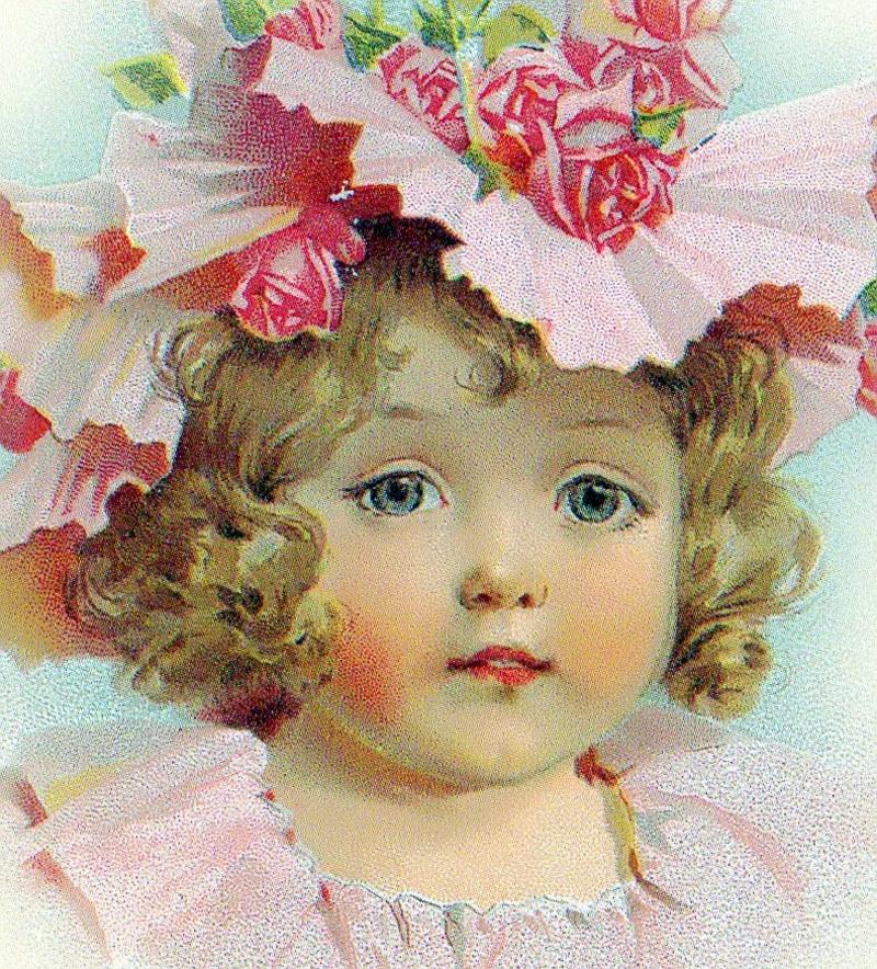 Девочка на старинных открытках