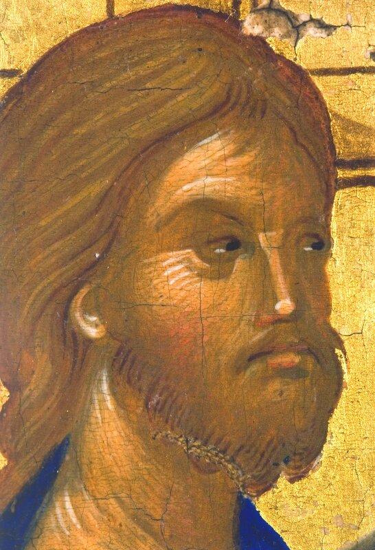 Воскрешение Праведного Лазаря. Византийская икона конца XIV - начала XV века. Фрагмент. Лик Спасителя.