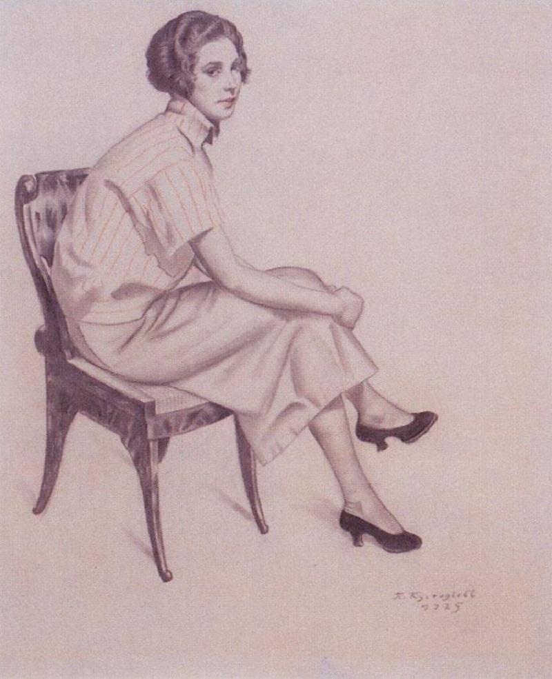 Борис Кустодиев (1878–1927) (Россия)  Портрет Евдокимовой (1925).jpg