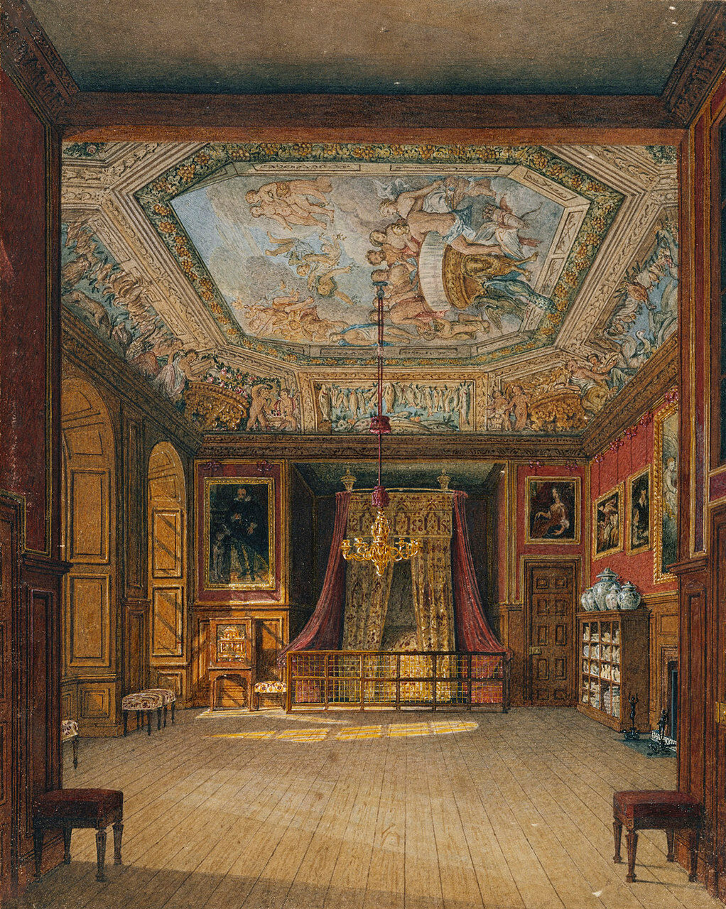 King's Eating Room, captioned by Pyne as 'Queen Anne's Bed', Windsor Castle.