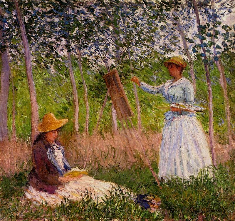 1887 Suzanne Reading and Blanche Painting by the Marsh at Giverny