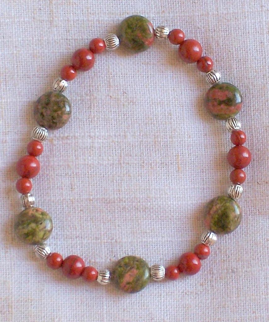unakite,red jasper,bracelet,gift