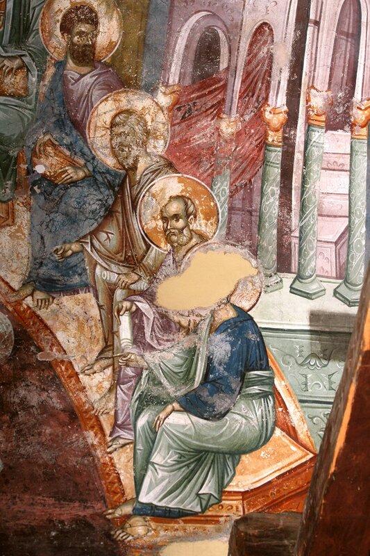 Сошествие Святого Духа на Апостолов. Фреска церкви Богоматери Одигитрии в Пече, Косово, Сербия. XIV век. Фрагмент.