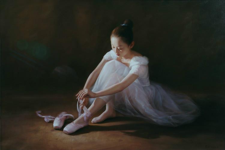 Принцесса нежная и хрупкая,в пуантах. Художник Tan Jian Wu (China)