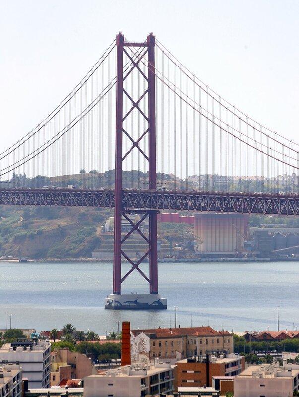 Lisbon. Bridge on April 25. The view from the Cemetery of Prazeres