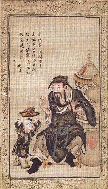Ли Бо, величайший поэт Китая, пьёт вино. XVII век.