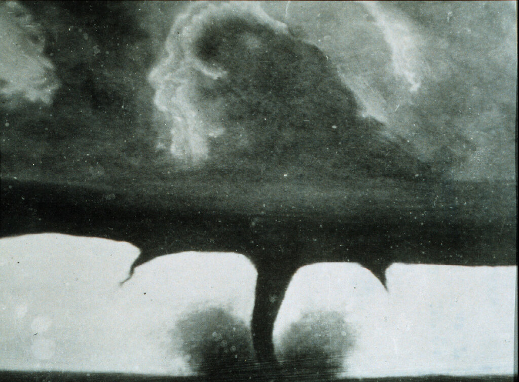 Oldest known photo of a tornado, taken about 20 miles SW of Howard, South Dakota, United States. August 28th, 1884.jpg