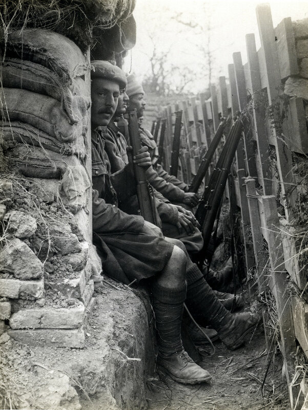 Highlanders and Dogras in a trench with dugouts [Fauquissart, France]. 9 Aug 1915