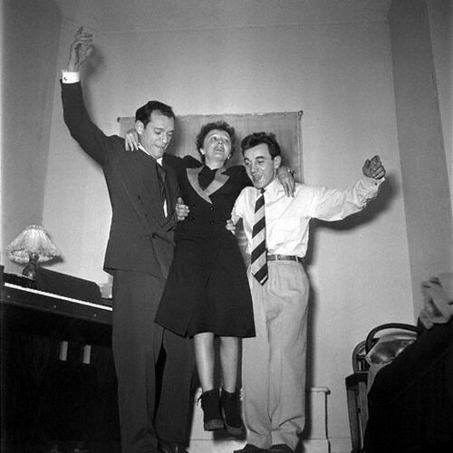 1958 Edith Piaf, Charles Aznavour and Eddie Constantine