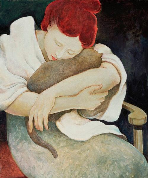"""Предпросмотр - Схема вышивки  """"Девушка с кошкой """" - Схемы автора  """"cluster """" - Вышивка крестом."""