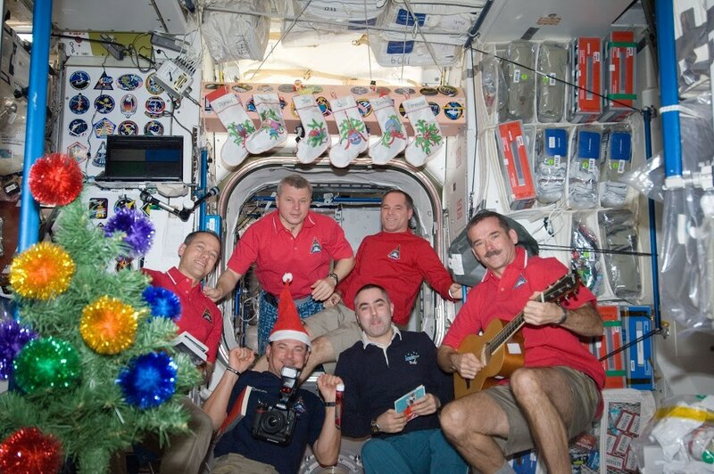 The crew on the International Space Station