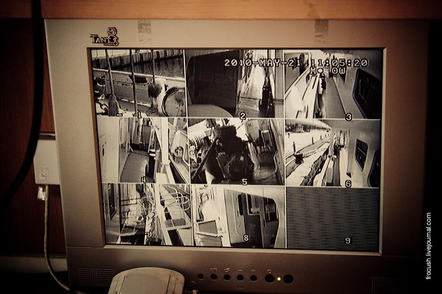 Монитор камер наблюдения на теплоходе