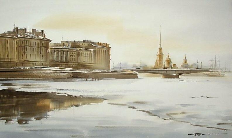 Лишь бьётся...  Переменчив климат в Петербурге.  Погода неустойчива совсем, И неизвестно, сколько завтра будет Ноль...