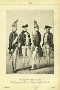 450. МУШКЕТЕРЫ и ГРЕНАДЕРЫ Мушкетерского Принца Августа полка, 1762 года.