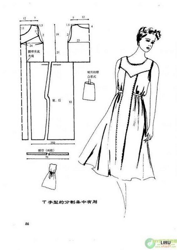 выкройка женского платья с юбкой солнце