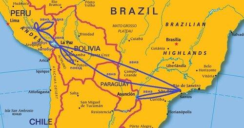 Попадания в южную америку