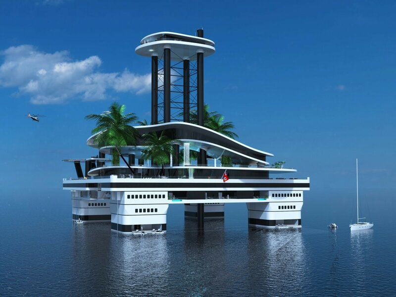 Ещё встроены панорамные бассейны и балконы; VIP зона и гостевая палуба под пляжной палубой.