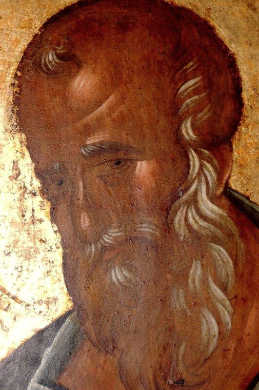 Святой Апостол и Евангелист Иоанн Богослов. Фрагмент иконы. Византия, 1360-е годы. Монастырь Хиландар на Святой Горе Афон.