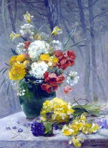 Still Life of Summer Flowers. Eugene Henri Cauchois (1850-1911)