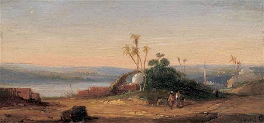 «Восточный пейзаж с видом на город и двумя путешественниками на переднем плане» ранее 1902 масло по дереву 6,3x7,5 см частная коллекция..jpg