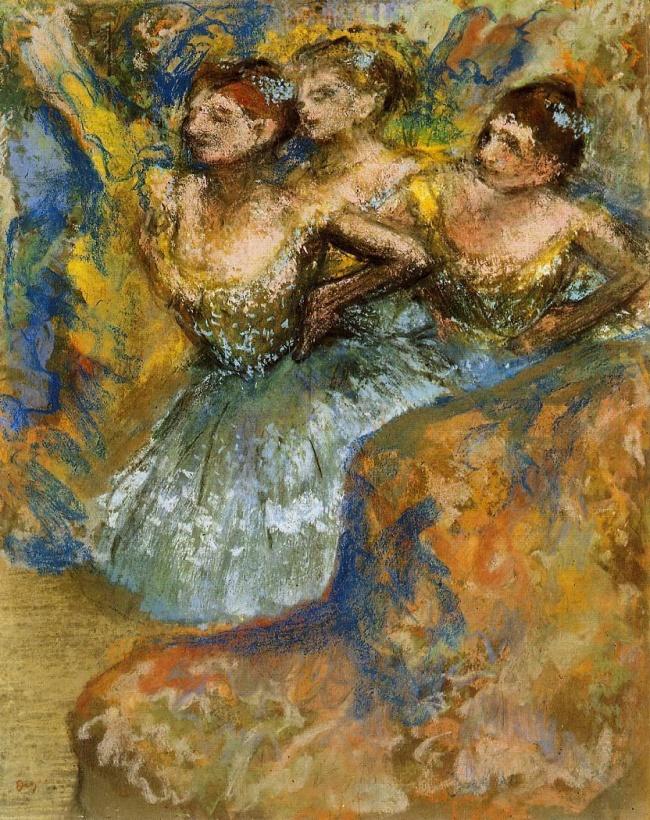 © wikiart.org  «Группа танцовщиц», 1900–1910 Многие картины Дега переплетаются стемой танца,