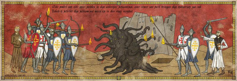 Крестоносцы обстреливают огненными стрелами Шоггота
