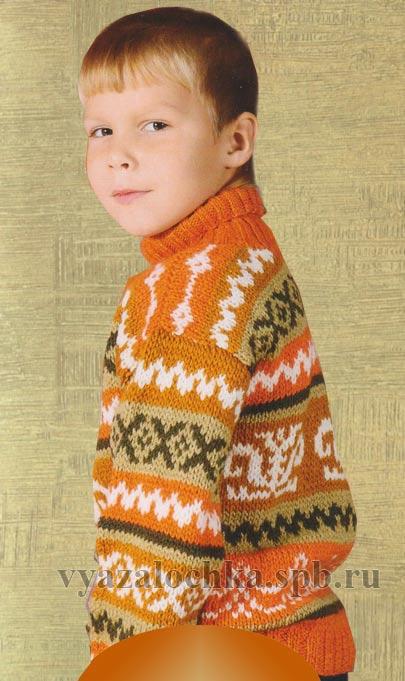 свитер спицами для мальчика 5 лет рост 122см
