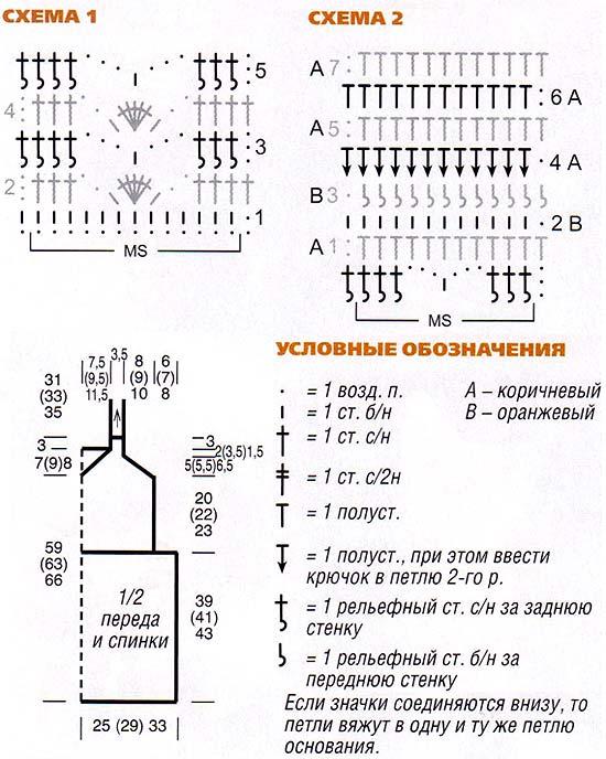 туника на бретелях крючком схема вязания