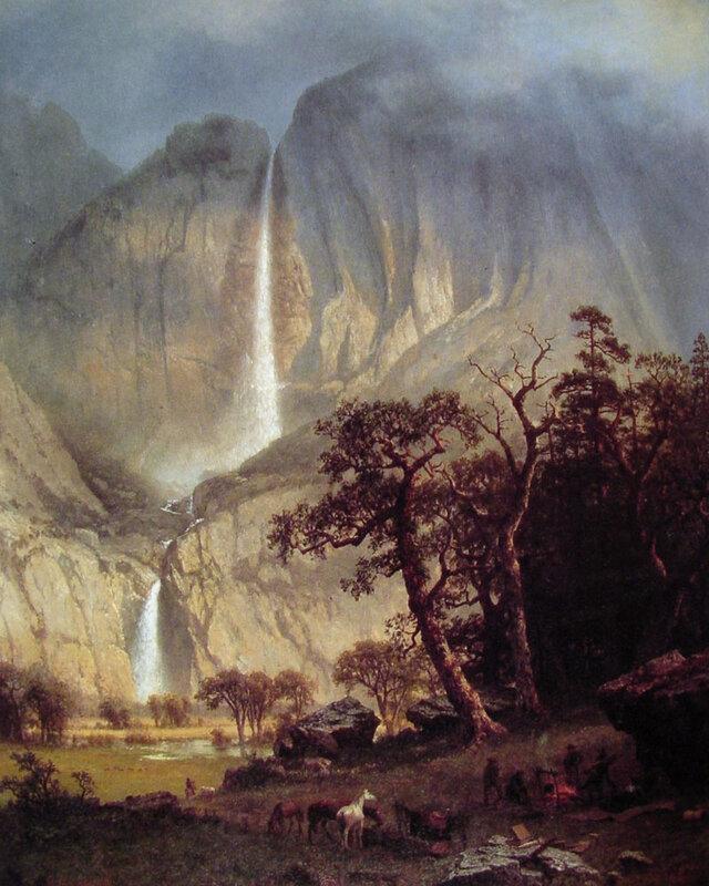 Йосемитский водопад, автор Albert Bierstadt (Альберт Бирштадт), конец 19 века