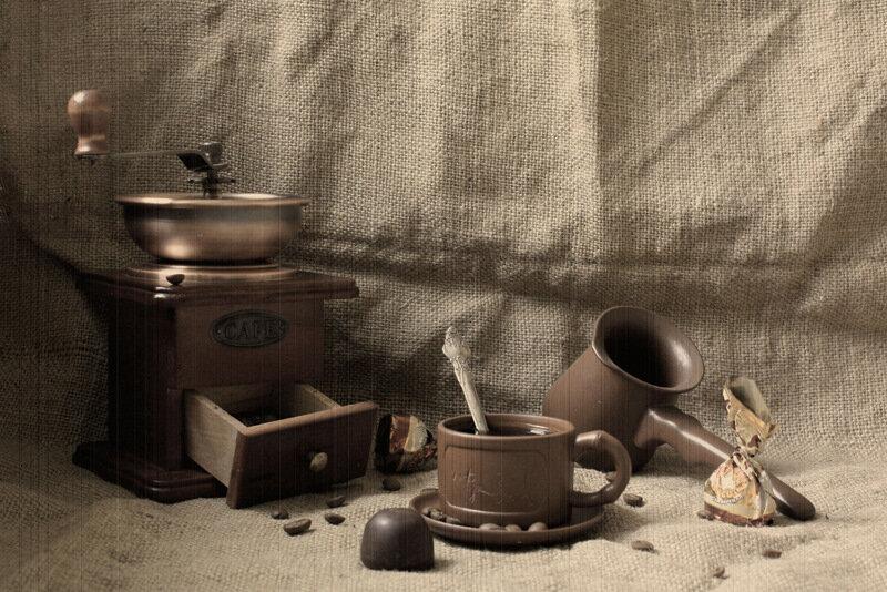 """Схема вышивки  """"Кофе монохром """": схема."""