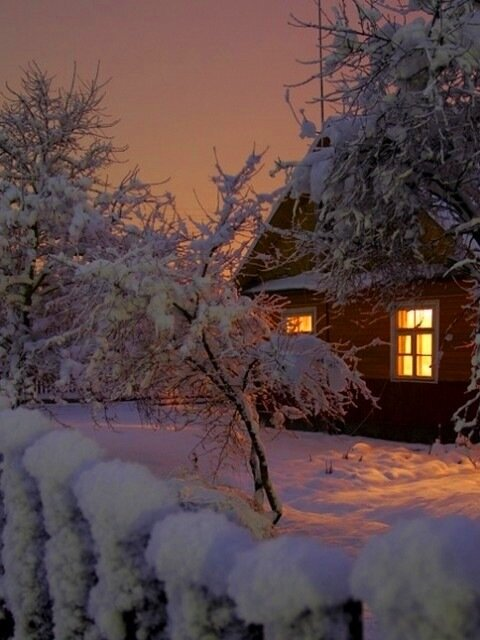"Схема вышивки  ""Зимний домик "" ."
