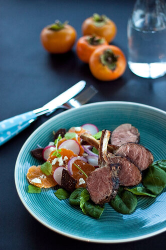Lamb cutlets with orange, mint and fig salad