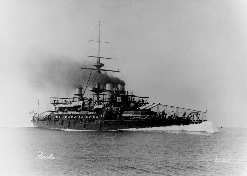 SICILIA (Italian Battleship, 1891-1923) Probably photographed on trials at about the time she was completed, May 1896