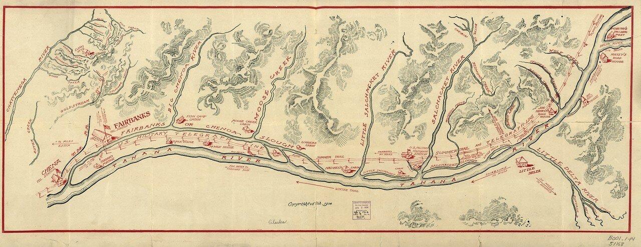 1906. Карта Аляски с изображением американской военной телеграфной линии
