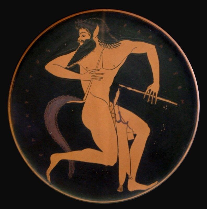 Килик мастера Эпиктета. Сатир со свирелью