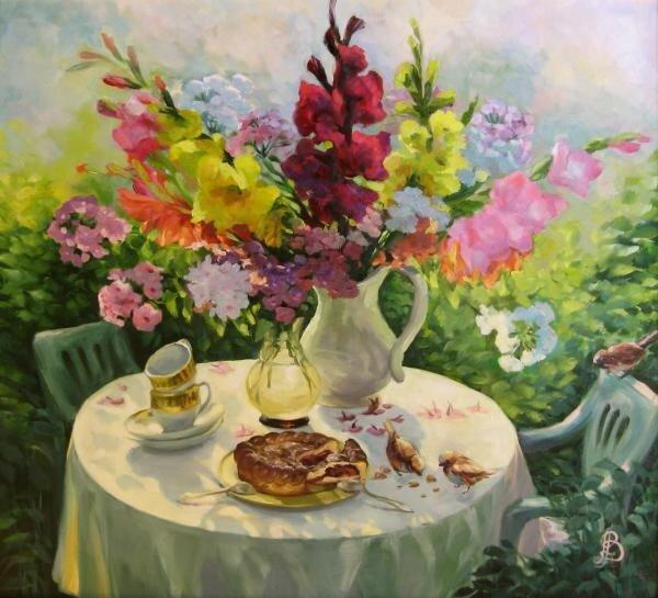 Чаепитие в саду. Ведешина Зинаида