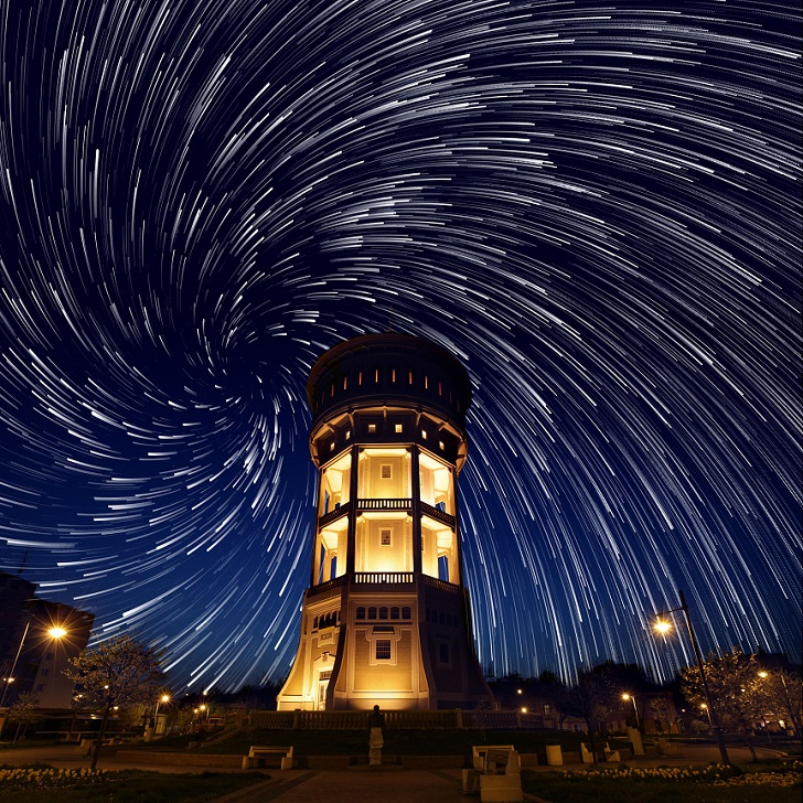Star trails above Hungary - Apr 2015