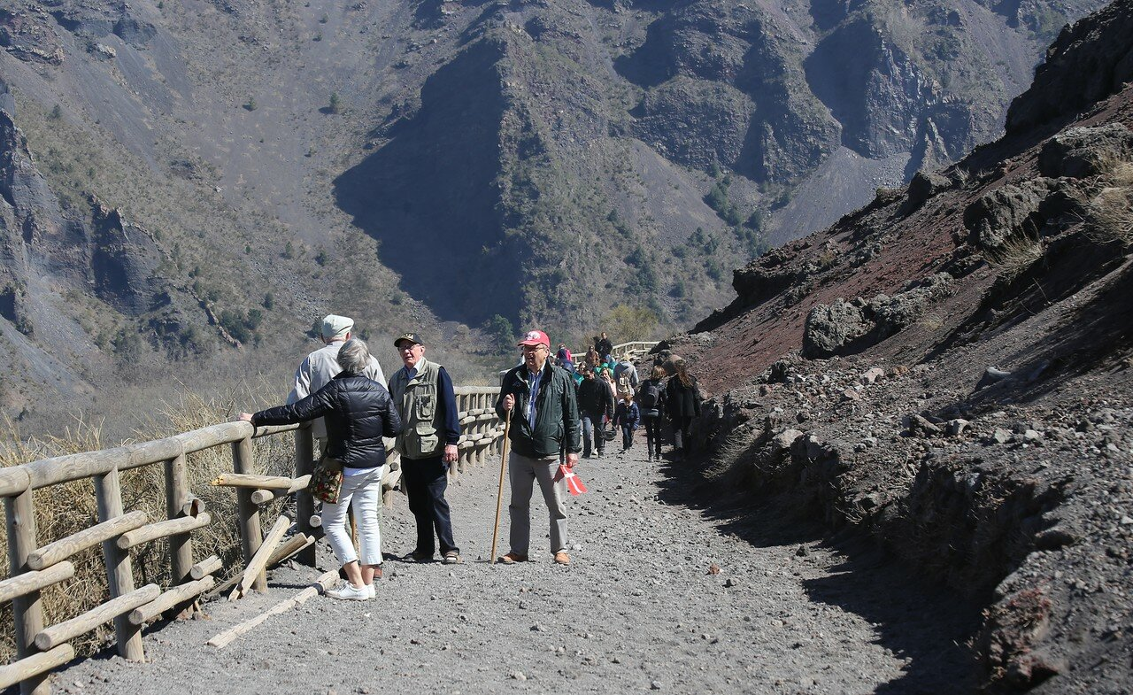 Climbing to the crater of Vesuvius