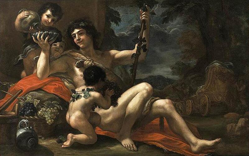 Балдассаре Франческини (Иль Вольтеррано), ок. 1670 г.Частная коллекция, Вакх  и сопровождающий его Купидон